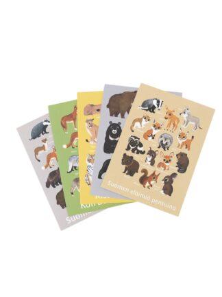 Eläinaiheiset postikortit, 5 kpl (5012177)